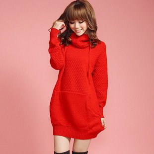The-new-women-s-autumn-and-winter-2010-the-new-cellular-pin-thick-hooded-sweater-poinsettia