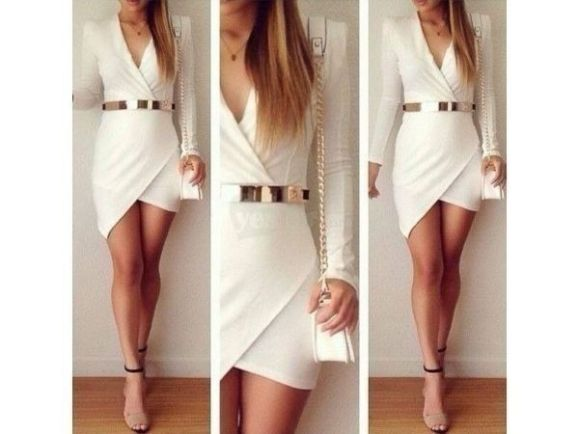 white dress gold belt