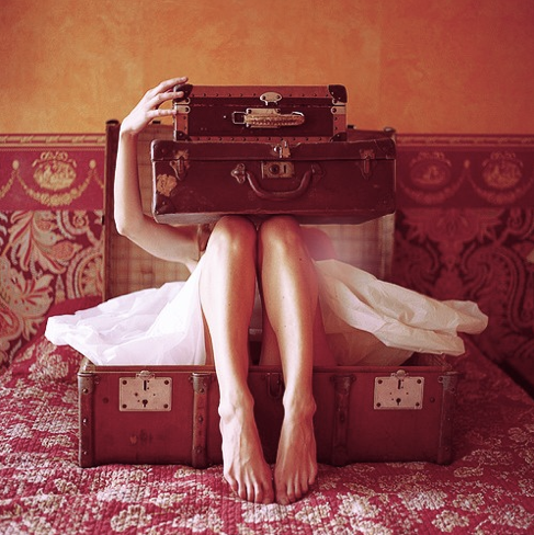 travel girl suitcase
