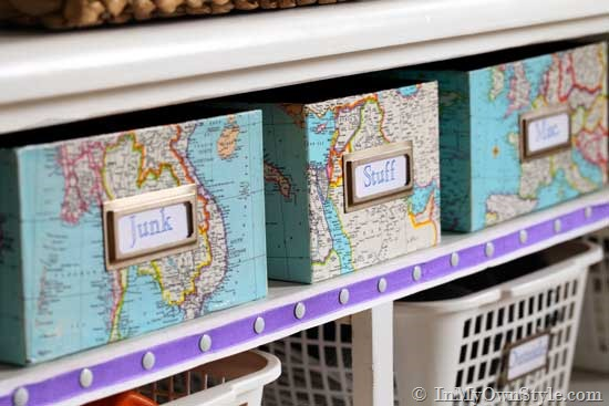 map-covered-shelf-organizing-boxes