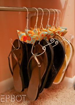 wire hanger flip flop sandal holder