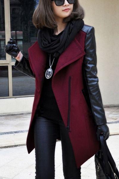 jacket coat winter pleather sleeves