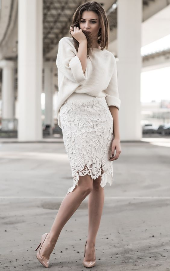 sweater with lace skirt 1