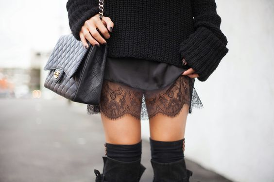 sweater with lace skirt