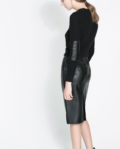 sweater with pleather panels